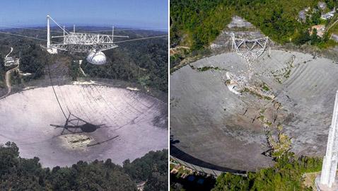 يوم حزين لعلم الفلك.. انهيار تلسكوب أريسيبو العملاق بعد عقود من العمل!